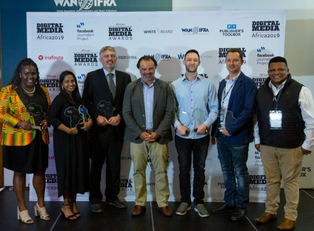 winners Digital Media Awards 2019: from left to right: Zamantungwa Khumalo, Mail & Guardian; Jerusha Sukhdeo-Raath, 24.com; Chris Roper, Code for Africa; Fernando de Yarza López-Madrazo, WAN-IFRA President; Rowan Polovin, Daily Maverick; Kobus Louwrens, Food for Mzansi and Ivor Price, Food